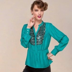 Anthropologie Maeve Peplum Teal Sequins Blouse